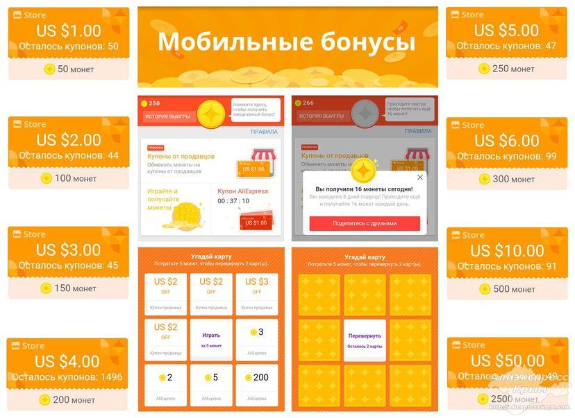 Мобильные бонусы от Алиэкспресс